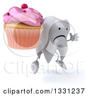 Clipart Of A 3d Unhappy Tooth Character Facing Slightly Right Jumping And Holding A Pink Frosted Cupcake Royalty Free Illustration