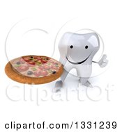Clipart Of A 3d Happy Tooth Character Holding Up A Thumb And A Pizza Royalty Free Illustration