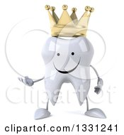 Clipart Of A 3d Happy Crowned Tooth Character Presenting Royalty Free Illustration