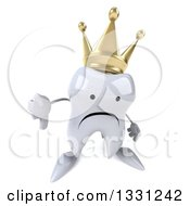 Clipart Of A 3d Unhappy Crowned Tooth Character Holding Up A Thumb Down Royalty Free Illustration