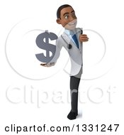 Clipart Of A 3d Full Length Young Black Male Doctor Holding A Dollar Symbol And Looking Around A Sign Royalty Free Illustration