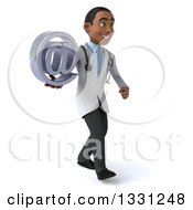 Clipart Of A 3d Young Black Male Doctor Walking To The Right And Holding An Email Arobase At Symbol Royalty Free Illustration