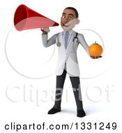 Clipart Of A 3d Young Black Male Nutritionist Doctor Holding A Navel Orange And Announcing With A Megaphone Royalty Free Illustration