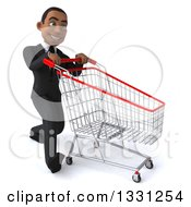 Clipart Of A 3d Happy Young Black Businessman Walking To The Right With A Shopping Cart Royalty Free Illustration