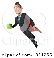 Clipart Of A 3d Happy Young White Super Businessman Flying And Holding A Green Apple Royalty Free Illustration