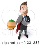 Clipart Of A 3d Happy Young White Super Businessman Holding Up A Navel Orange Royalty Free Illustration