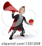 Clipart Of A 3d Happy Young White Super Businessman Holding A Strawberry And Announcing Up To The Left With A Megaphone Royalty Free Illustration