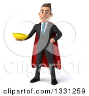 Clipart Of A 3d Happy Young White Super Businessman Holding A Banana Royalty Free Illustration