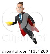 Clipart Of A 3d Happy Young White Super Businessman Flying And Holding A Banana Royalty Free Illustration
