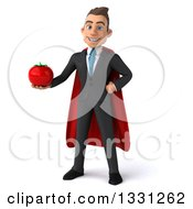 Clipart Of A 3d Happy Young White Super Businessman Holding A Tomato Royalty Free Illustration