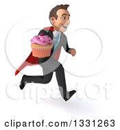 Clipart Of A 3d Happy Young White Super Businessman Sprinting To The Right With A Pink Frosted Cupcake Royalty Free Illustration