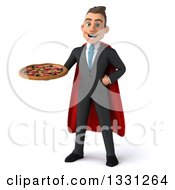 Clipart Of A 3d Happy Young White Super Businessman Holding A Pizza Royalty Free Illustration