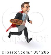 Clipart Of A 3d Happy Young White Super Businessman Sprinting To The Right And Holding A Pizza Royalty Free Illustration