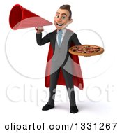 Clipart Of A 3d Happy Young White Super Businessman Holding A Pizza And Announcing With A Megaphone Royalty Free Illustration