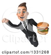 Clipart Of A 3d Happy Young White Super Businessman Flying And Holding A Double Cheeseburger Royalty Free Illustration
