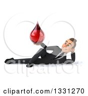 Clipart Of A 3d Happy Young White Businessman Resting On His Side And Holding A Blood Drop Royalty Free Illustration