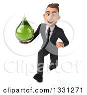 Clipart Of A 3d Happy Young White Businessman Sprinting And Holding A Green Medicine Tincture Droplet Royalty Free Illustration by Julos
