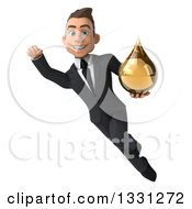 Clipart Of A 3d Happy Young White Businessman Flying And Holding A Yellow Medicine Tincture Droplet Royalty Free Illustration by Julos