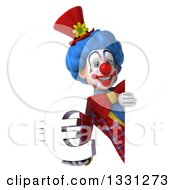 Clipart Of A 3d Colorful Clown Holding A Euro Symbol Around A Sign Royalty Free Illustration