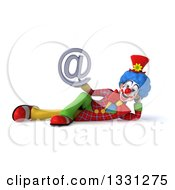 Clipart Of A 3d Colorful Clown Resting On His Side And Holding An Email Arobase At Symbol Royalty Free Illustration