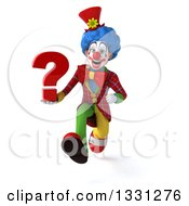 Clipart Of A 3d Colorful Clown Sprinting With A Question Mark Royalty Free Illustration