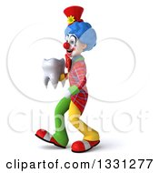 Clipart Of A 3d Colorful Clown Walking To The Left And Holding A Tooth Royalty Free Illustration