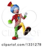 Clipart Of A 3d Colorful Clown Dancing With A Green Apple Royalty Free Illustration