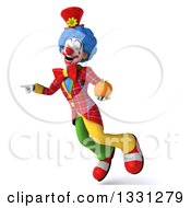 Clipart Of A 3d Colorful Clown Flying Pointing And Holding A Navel Orange Royalty Free Illustration