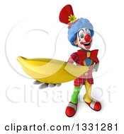 Clipart Of A 3d Colorful Clown Holding Up A Banana Royalty Free Illustration