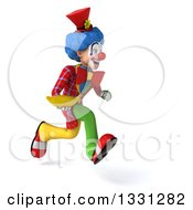 Clipart Of A 3d Colorful Clown Sprinting To The Right And Holding A Banana Royalty Free Illustration