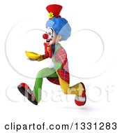 Clipart Of A 3d Colorful Clown Sprinting To The Left And Holding A Banana Royalty Free Illustration