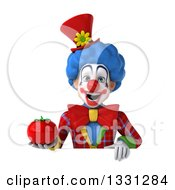 Clipart Of A 3d Colorful Clown Holding A Tomato Over A Sign Royalty Free Illustration