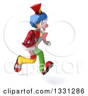 Clipart Of A 3d Colorful Clown Sprinting To The Right And Holding A Beef Steak Royalty Free Illustration