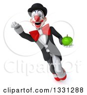 Clipart Of A 3d White And Black Clown Flying With A Green Apple Royalty Free Illustration