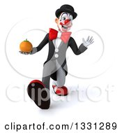 Clipart Of A 3d White And Black Clown Walking Waving And Holding A Navel Orange Royalty Free Illustration