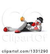 Clipart Of A 3d White And Black Clown Resting On His Side And Holding A Navel Orange Royalty Free Illustration