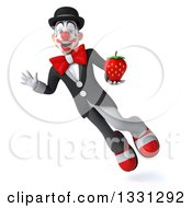 Clipart Of A 3d White And Black Clown Flying Waving And Holding A Strawberry Royalty Free Illustration