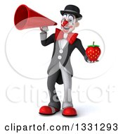 Clipart Of A 3d White And Black Clown Holding A Strawberry And Announcing With A Megaphone Royalty Free Illustration