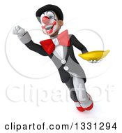 Clipart Of A 3d White And Black Clown Flying With A Banana Royalty Free Illustration