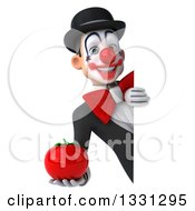 Clipart Of A 3d White And Black Clown Holding A Tomato Around A Sign Royalty Free Illustration