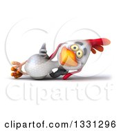 Clipart Of A 3d White Chicken Resting On His Side And Giving A Thumb Up Royalty Free Illustration