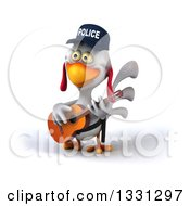 Clipart Of A 3d White Police Chicken Playing A Guitar 3 Royalty Free Illustration