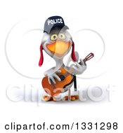 Clipart Of A 3d White Police Chicken Playing A Guitar 4 Royalty Free Illustration