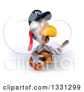 Clipart Of A 3d White Police Chicken Playing A Guitar 5 Royalty Free Illustration