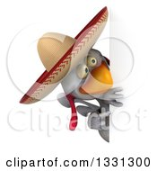 3d White Mexican Chicken Wearing A Sombrero Looking And Pointing Around A Sign