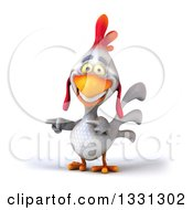 Clipart Of A 3d White Chicken Pointing To The Left 2 Royalty Free Illustration