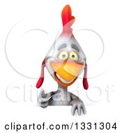 Clipart Of A 3d White Chicken Giving A Thumb Up Over A Sign Royalty Free Illustration