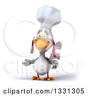Poster, Art Print Of 3d White Chef Chicken Presenting