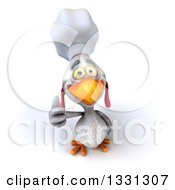 Poster, Art Print Of 3d White Chef Chicken Holding Up A Thumb