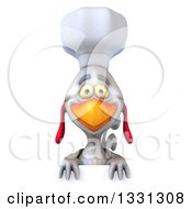 Clipart Of A 3d White Chef Chicken Over A Sign Royalty Free Illustration by Julos